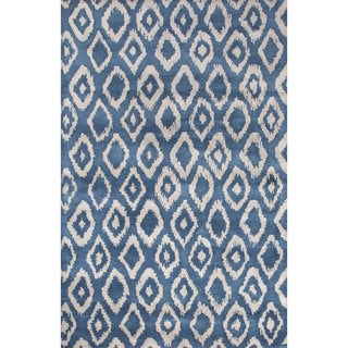 Contemporary Tribal Pattern Blue/Gray Wool Area Rug (2x3)