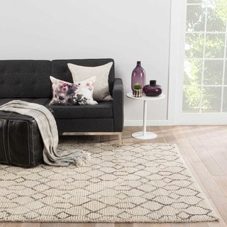 Nikki Chu by Jaipur Living Leda Natural Trellis White/ Gray Area Rug (2' X 3')