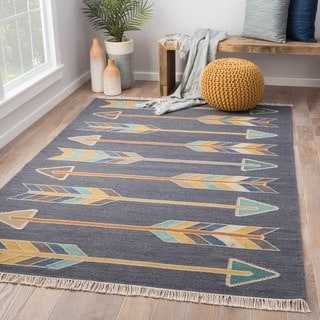 Flatweave Tribal Pattern Dark Gray/Yellow Wool and Cotton Area Rug (2x3)