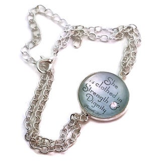 Mama Designs Inspirational Christan Silver Glass Adjustable Bracelet