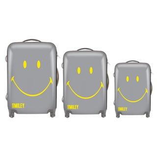 Smiley Classic Grey 3-piece Hardside Spinner Luggage Set