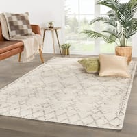 "Tashi Hand-Knotted Geometric Ivory/ Brown Area Rug (9'6"" X 13'6"")"