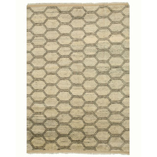 Hand-knotted Wool Beige Transitional Trellis Moroccan Rug (6' x 9')