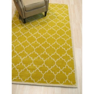 EORC Hand-tufted Wool Yellow Moroccan Rug (5' x 8')