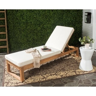 Safavieh Solano Outdoor Teak Brown/ Beige Sunlounger