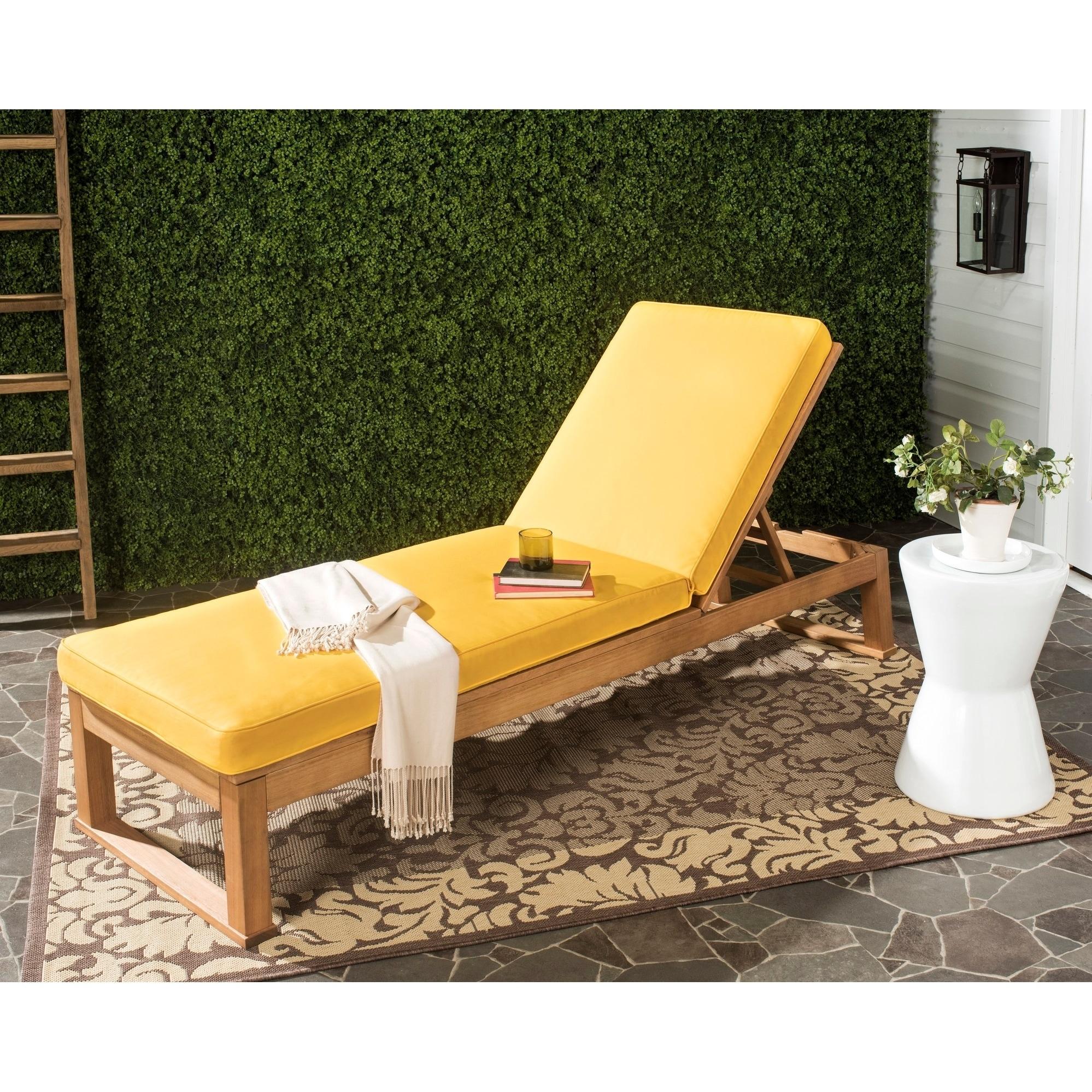 Safavieh Solano Outdoor Teak Brown/ Yellow Sunlounger (PA...