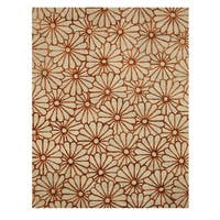 Hand-tufted Wool & Viscose Beige Transitional Trellis Sunflower Rug (5' x 8')