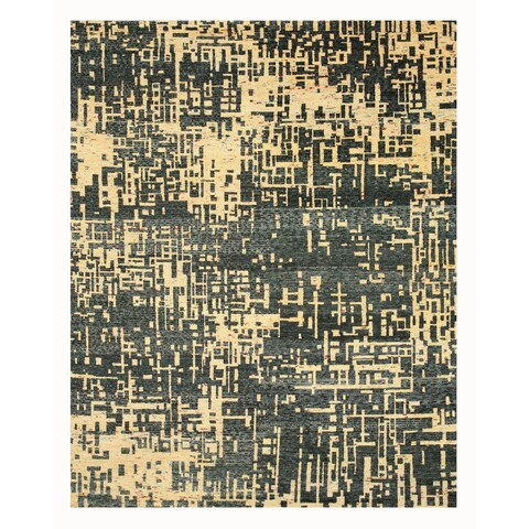 Hand-knotted SARI-SILK Blue Contemporary Abstract Anand Rug - 9' x 12'