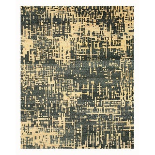 Hand-knotted SARI-SILK Blue Contemporary Abstract Anand Rug (9' x 12')
