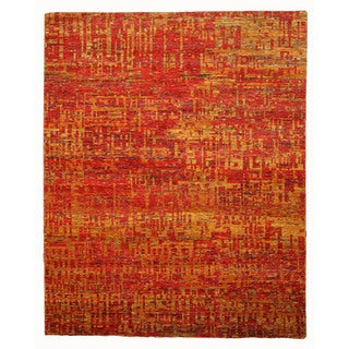 EORC Hand Knotted SARI-SILK Red Anand Rug (9' x 12')