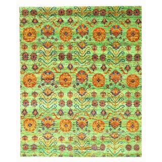 EORC Hand Knotted SARI-SILK Green Kotan Rug (8' x 10')