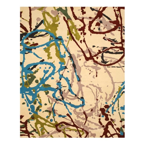 """Hand-tufted Wool Ivory Contemporary Abstract Spilo Rug - 7'9"""" x 9'9"""""""