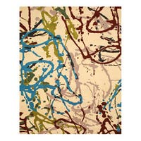 Hand-tufted Wool Ivory Contemporary Abstract Spilo Rug - 7'9 x 9'9