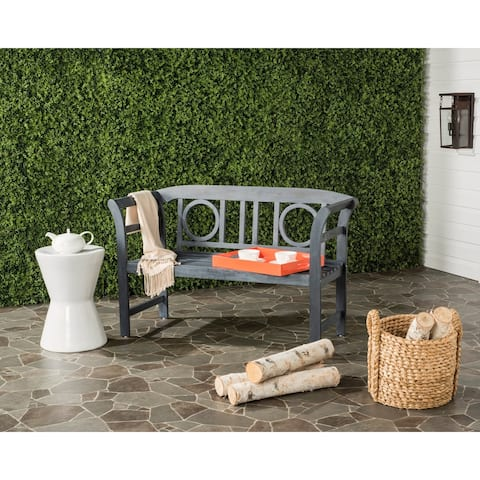 "Safavieh Moorpark Outdoor Ash Grey 2 Seat Bench - 19.7"" x 49.2"" x 31.1"""