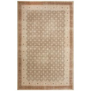Classic Border Pattern Blue/Ivory Wool Area Rug (2x3)