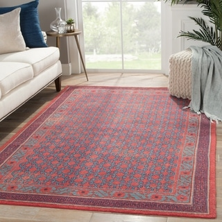 Classic Border Pattern Red/Blue Wool Area Rug (2x3)