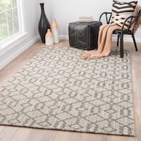 Nikki Chu Baza Natural Trellis Gray/ White Area Rug (2' X 3')