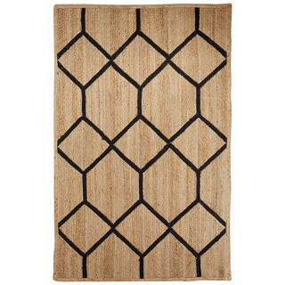 Nikki Chu Naturals Tribal Pattern Natural/Black Jute Area Rug (2x3)