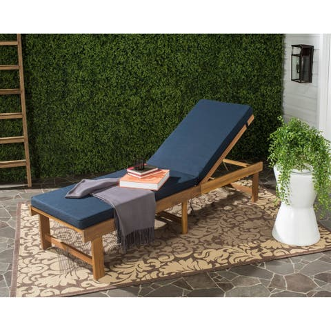 "Safavieh Outdoor Living Inglewood Brown/ Navy Chaise Lounge Chair - 23.6"" x 75.2"" x 15.4"""