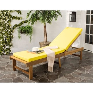 Safavieh Inglewood Outdoor Teak Brown/ Yellow Chaise Lounge Chair