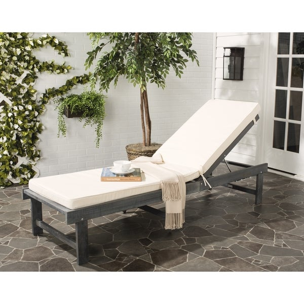 Safavieh Inglewood Outdoor Ash Grey Beige Chaise Lounge Chair