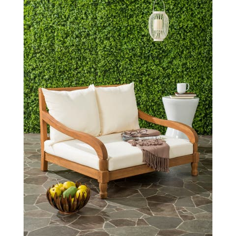 "Safavieh Outdoor Living Pomona Brown/ Beige Lounger - 35.4"" x 35.4"" x 25.6"""