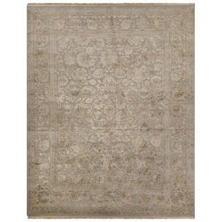 Luxury Oriental Pattern Gray/Ivory Wool and Silk Area Rug (9x12)