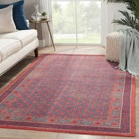 Hand-Knotted Borders Red Area Rug (9' X 12') - 9' x 12'
