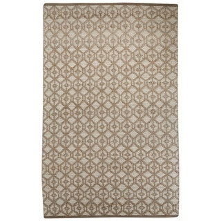 Nikki Chu Naturals Tribal Pattern Gray Jute and Chinille Area Rug (8x10)