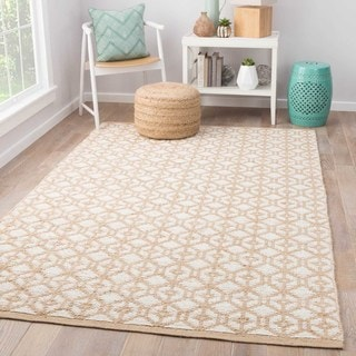 Naturals Tribal Pattern Ivory/White Jute and Chinille Area Rug (8x10)