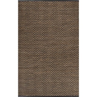 Nikki Chu Naturals Chevrons Pattern Black/Natural Jute, Wool & Pu Leather Area Rug (8x10)