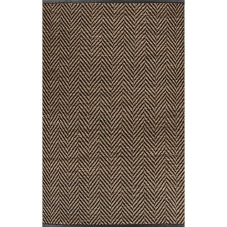 Nikki Chu Naturals Chevrons Pattern Black/Natural Jute, Wool & Pu Leather Area Rug (9x12)