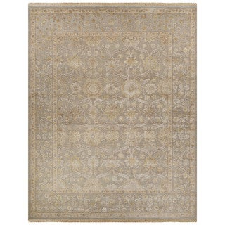 Luxury Oriental Pattern Gray/Ivory Wool and Silk Area Rug (8x10)