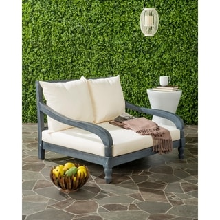 Safavieh Pomona Outdoor Ash Grey/ Beige Lounger