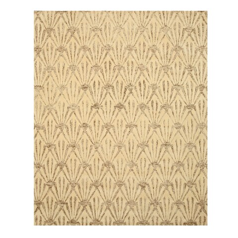 "Hand-tufted Wool & Viscose Ivory Transitional Trellis Montego Rug - 7'9"" x 9'9"""