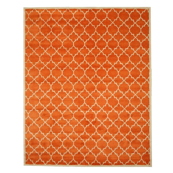 Hand-tufted Wool Orange Transitional Moroccan Moroccan Rug
