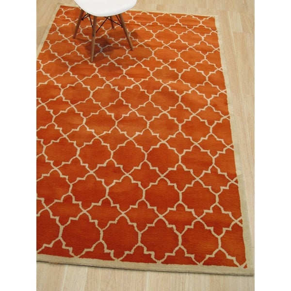 Shop Hand-tufted Wool Orange Transitional Moroccan