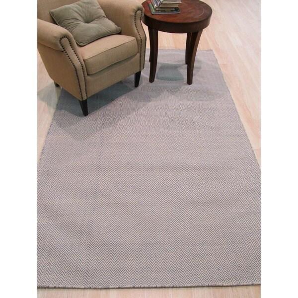 Chevron Denim Wool Rug: Shop Hand-tufted Wool Ivory Transitional Chevron Chevron