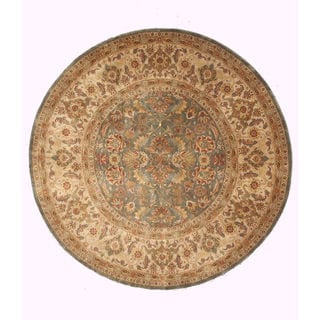 EORC Hand Knotted Wool Green Sarouk Rug (8' Round)
