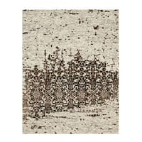 Hand-tufted Wool & Viscose Beige Transitional Trellis Erase Rug - 7'9 x 9'9