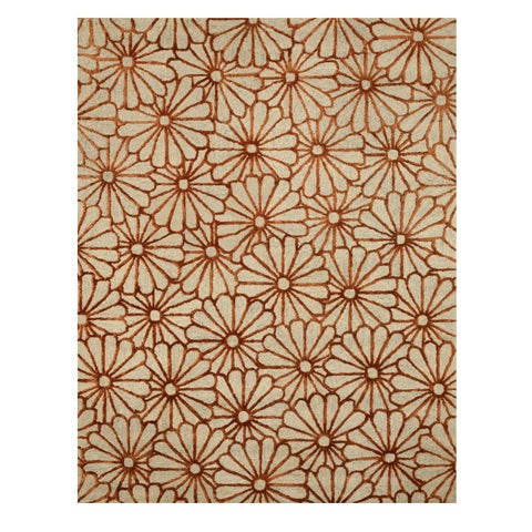 "Hand-tufted Wool & Viscose Beige Transitional Trellis Sunflower Rug - 7'9"" x 9'9"""