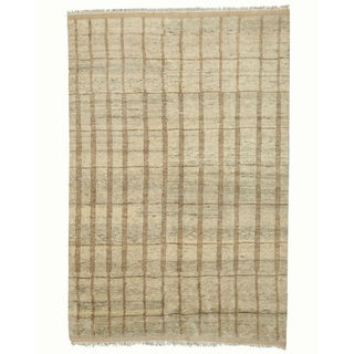 EORC Hand Knotted Wool Beige Moroccan Rug (6' x 9')