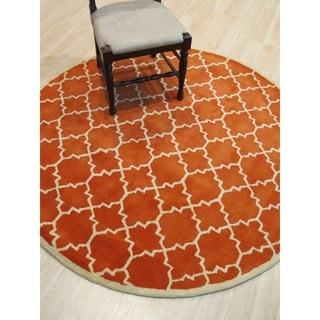 EORC Hand-tufted Wool Orange Moroccan Rug (6' x 6')