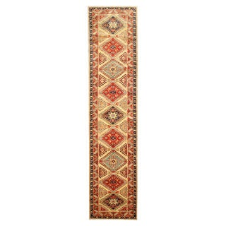 Hand-knotted Wool Ivory Traditional Oriental Super Kazak Rug (2'9 x 12')
