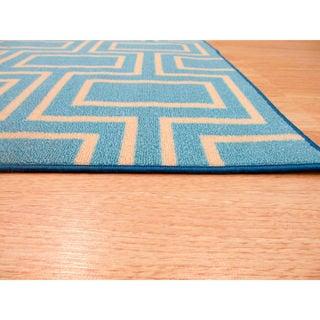 Blue Contemporary Geometric Brandon Rug (7'10 x 9'10)