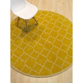 Hand-tufted Wool Yellow Transitional Moroccan Moroccan Rug (6' x 6')