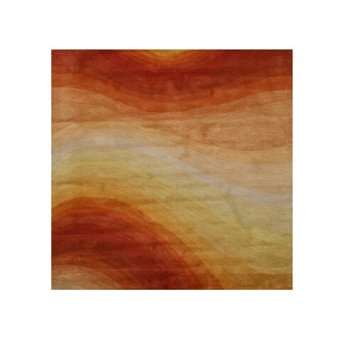 Hand-tufted Wool Orange Contemporary Abstract Desert Rug (6' Square) - 6' Square