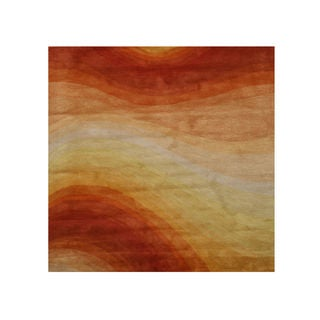 Hand-tufted Wool Orange Contemporary Abstract Desert Rug (6' Square)