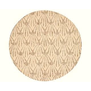EORC Hand-tufted Wool &Viscose Ivory Montego Rug (6' x 6')