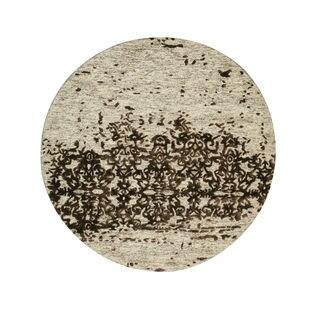 Hand-tufted Wool & Viscose Beige Transitional Trellis Erase Rug (6' x 6')